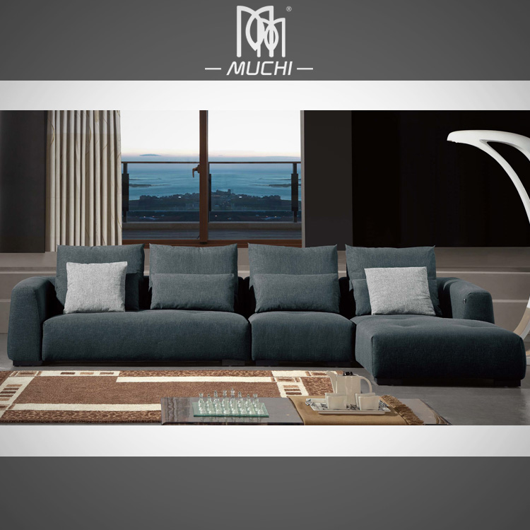 Modern Appearance Black Fabric Lounge Sectional Furniture For Big People