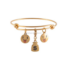 Stainless Steel Expandable Emoji Charm Bangle Bracelet