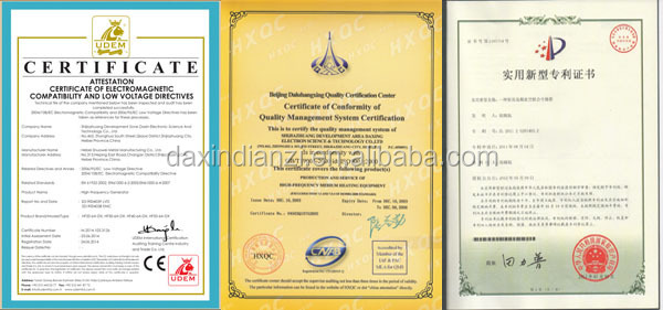 certificate of high frequency vacuum wood dryer machine