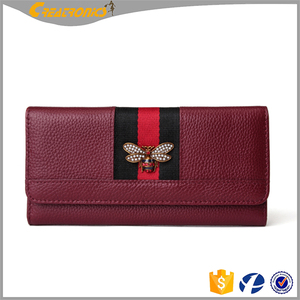 Bee Decoration Clutch Wallet Women Simple Design Wholesale PU Leather 2017 Wallet
