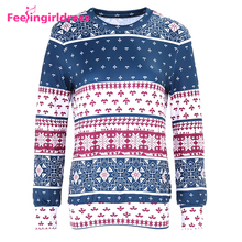 2017 Autumn Clothing Long Sleeve Snowflake Christmas Pattern Woman Sweater Blouse