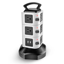 Hotselling Vertical Tower Power Strip Rotatable Socket 6.5 feet Retractable Cord