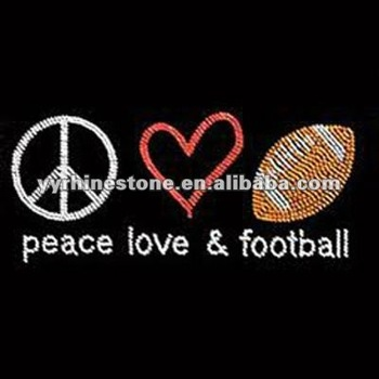 peace love football rhinestone transfer for T shirt