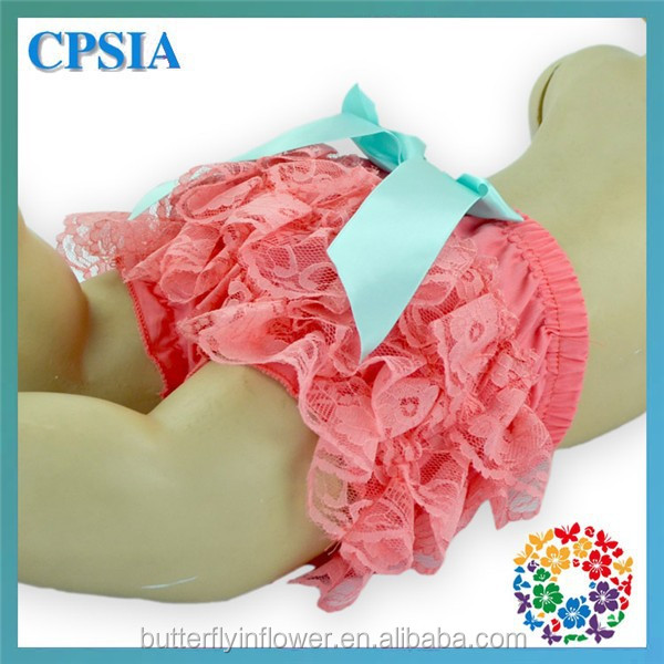 cute kids underwear for girls models peach lace ruffle bloomers for newborn baby