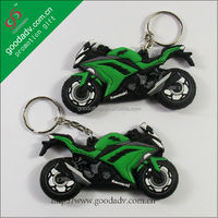 Custom black with green soft pvc motorbike keychain / motorcycle pvc keyring