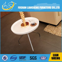 White high glossy round end table C889H-M3-13