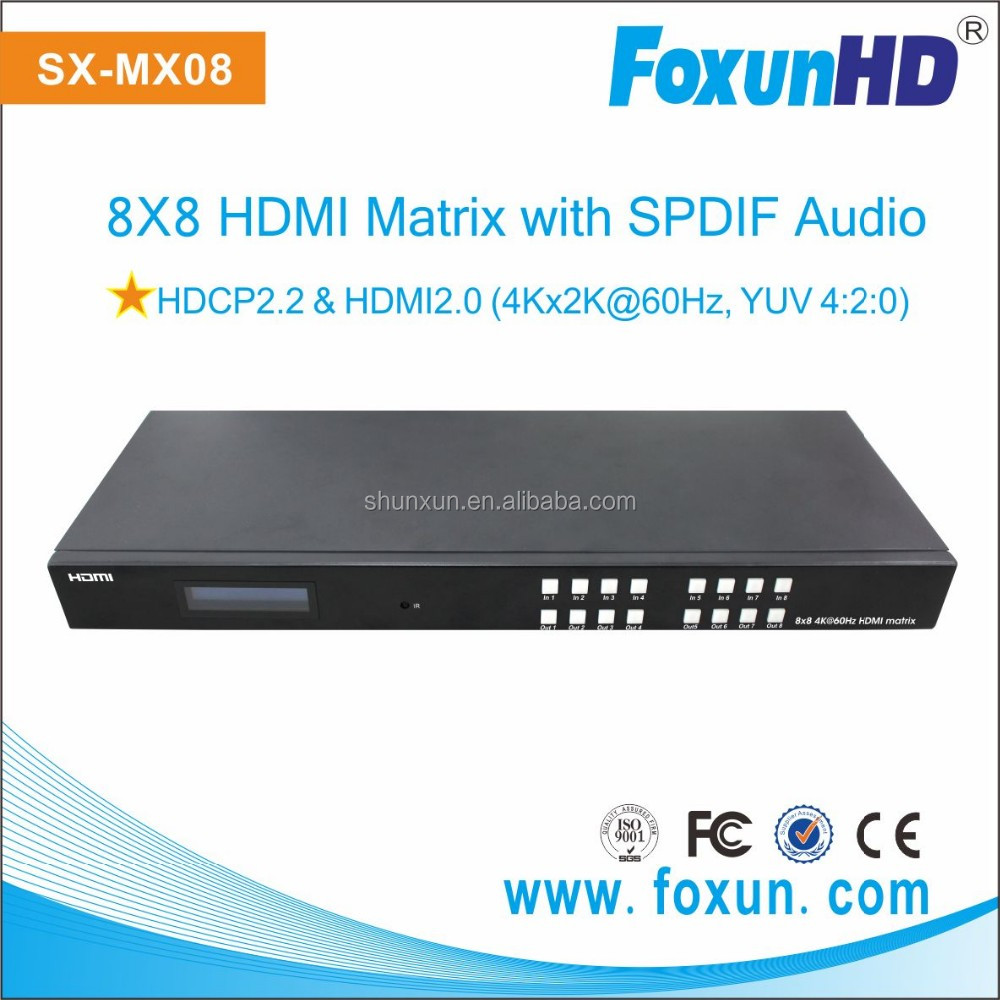 HDMI 2.0! 4k@60HZ HDCP2.2 HDMI 8x8 Matrix switch with SPDIF Audio output