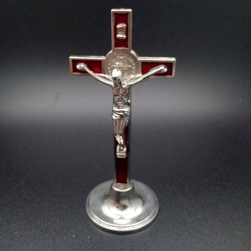 Religious Standing Crucifix alloy decoration cross crafts wholesale metal catholic crucifix cross