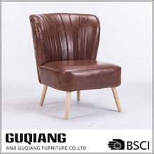 PU Leather Armless Sofa Furniture In Brief Style,Wooden Sofa Chair