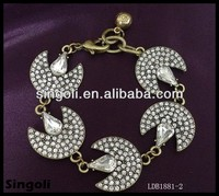 Alibaba silver alloy moon Bracelet with diamond wholesale