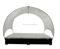 double rattan lounge bed black with umbrella
