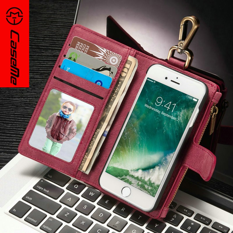 CaseMe Leather Wallet Case for IPhone 7 magnetic Stand Phone Cases