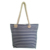 Summer Double Rope Handle Stripe Printed Canvas Beach Tote Bag For Women