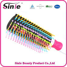 Colorful bristles creative rainbow plastic hair brush