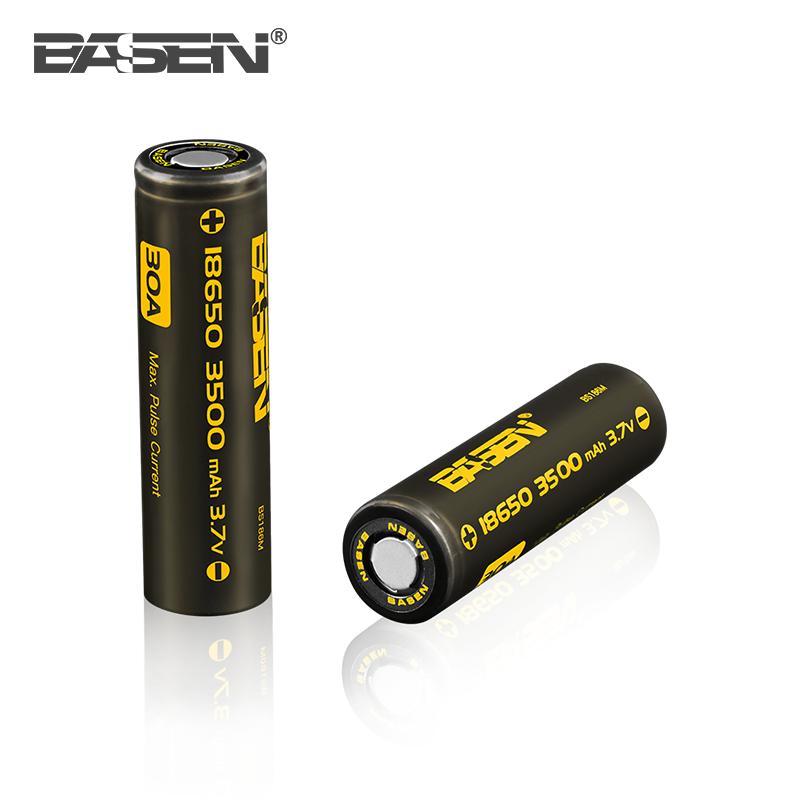 Hot selling BASEN 3.7v icr 18650 3500mah li-ion rechargeable battery 30A for e-cigarette