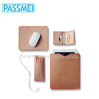 Custom leather Mouse Pad, pen holder, leather wallet gift set