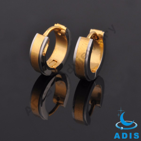 Low MOQ surgical steel jewelry gold plated hoop earrings wholesale