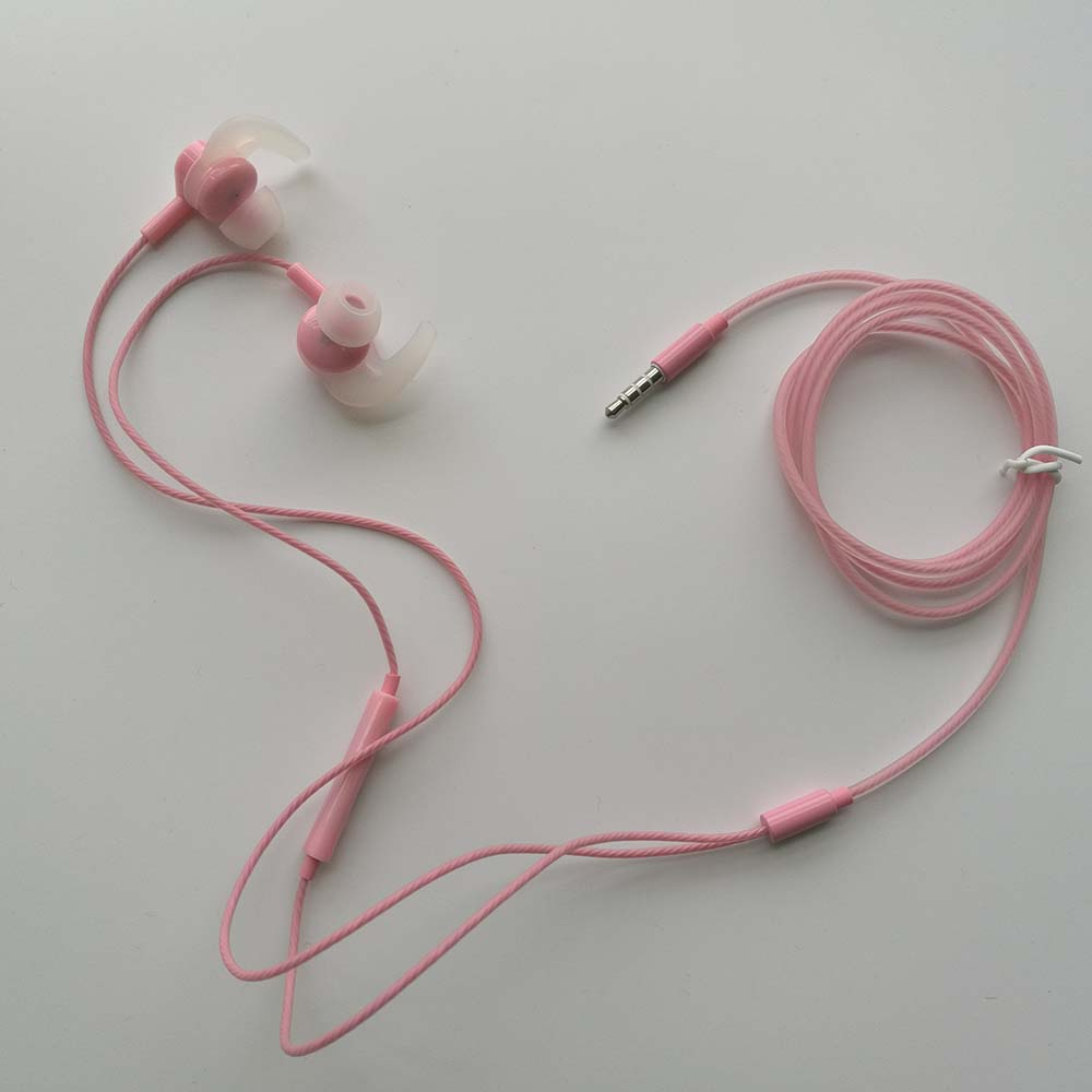 pink color ear hook wireless earphone bluetooth headset with TPE twisted wire