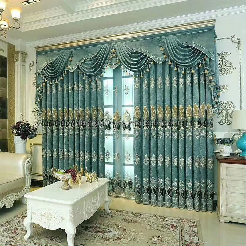 European Luxury Curtains Jacquard Window Curtains Heavy Fabric High Quality Living room Floral Curtains