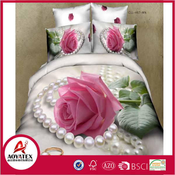 2016 new style pink rose 13372 60*40s reactive printed 3D bedding sets