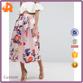 OEM your own satin printed fashion skirts,high quality summer skirt designs