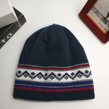 Wholesale custom winter warm jacquard knitted acrylic ski beanie hat