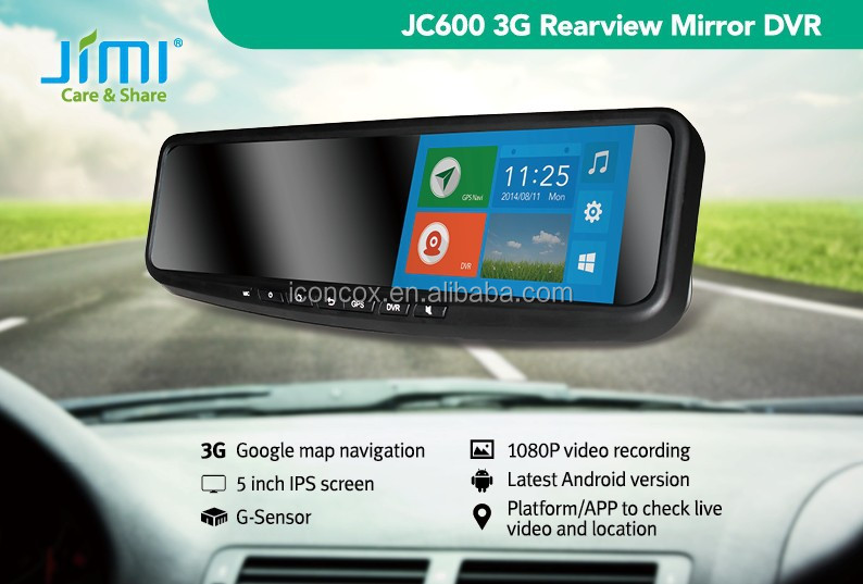 Jimi 1080P 5 inch touch screen 3g andriod 4.4 wifi rearview mirror car gps with dvr