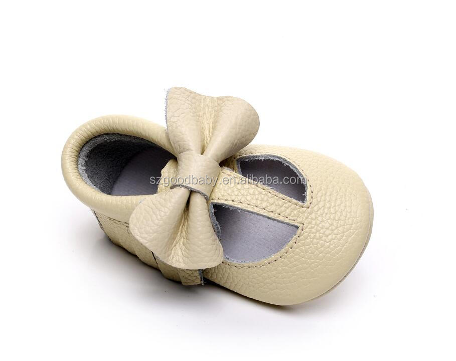 2017 factory price cream color t-bat baby bow baba soft sole leather shoes