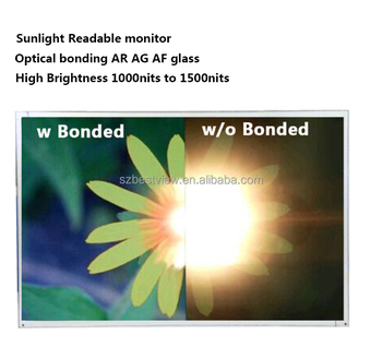 19 inch 1000 to1500nits outdoor sunlight readable high brightness monitor wtih optical bonding 2mm AR glass