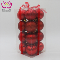 16 Pcs/Pvc Box With Riband Christmas Decoration Balls