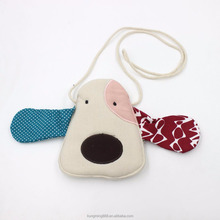 Cartoon Dog Kids Crossbody Bags Linen Shoulder Bag for Children
