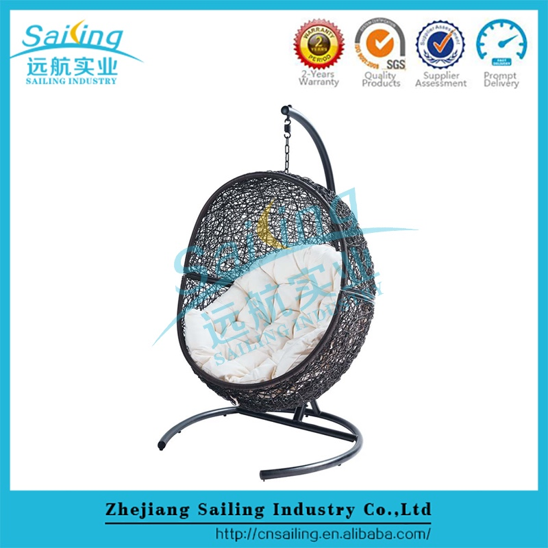 Outdoor New Design Patio Rattan Hanging Egg Lounge Chair