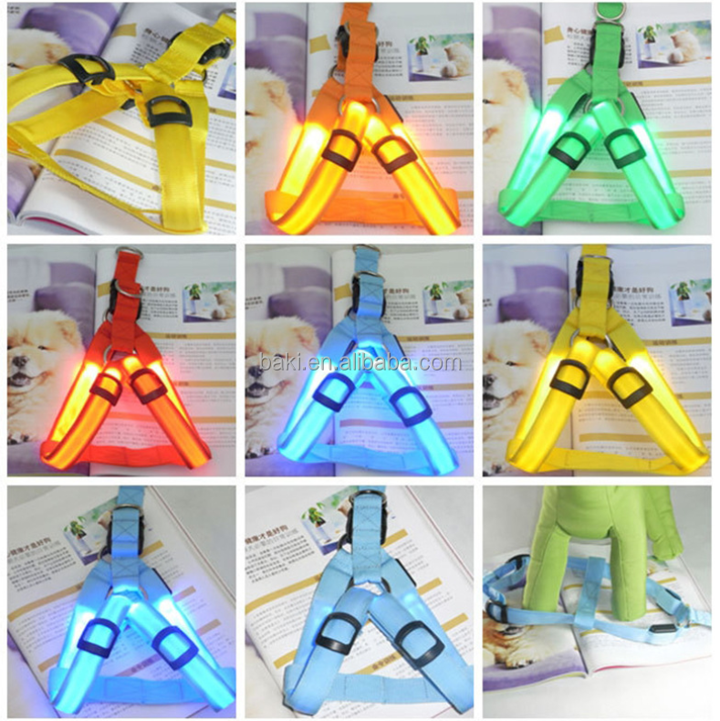 Night Safety Nylon Flashing Light Up Adjustable Pet LED Dog Harness
