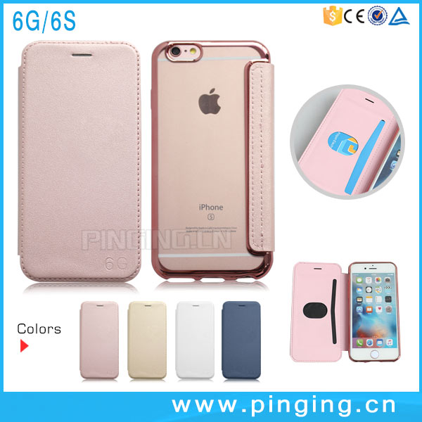Plating TPU PU Leather Cell Phone Wallet Card Phone Case For iPhone 6S