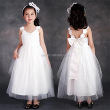 <strong>Girl's</strong> wedding chiffon sleeveless bowknot <strong>dress</strong> and appliqued lace V collar gauze princess <strong>dress</strong>