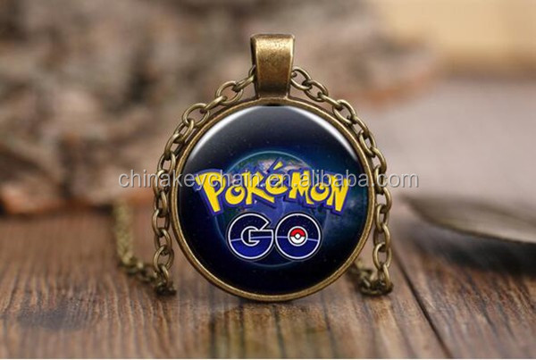 2016 Hot Fashion of Pokemon Go Necklace Silver/Antique Bronze Color Plated Glass Dome