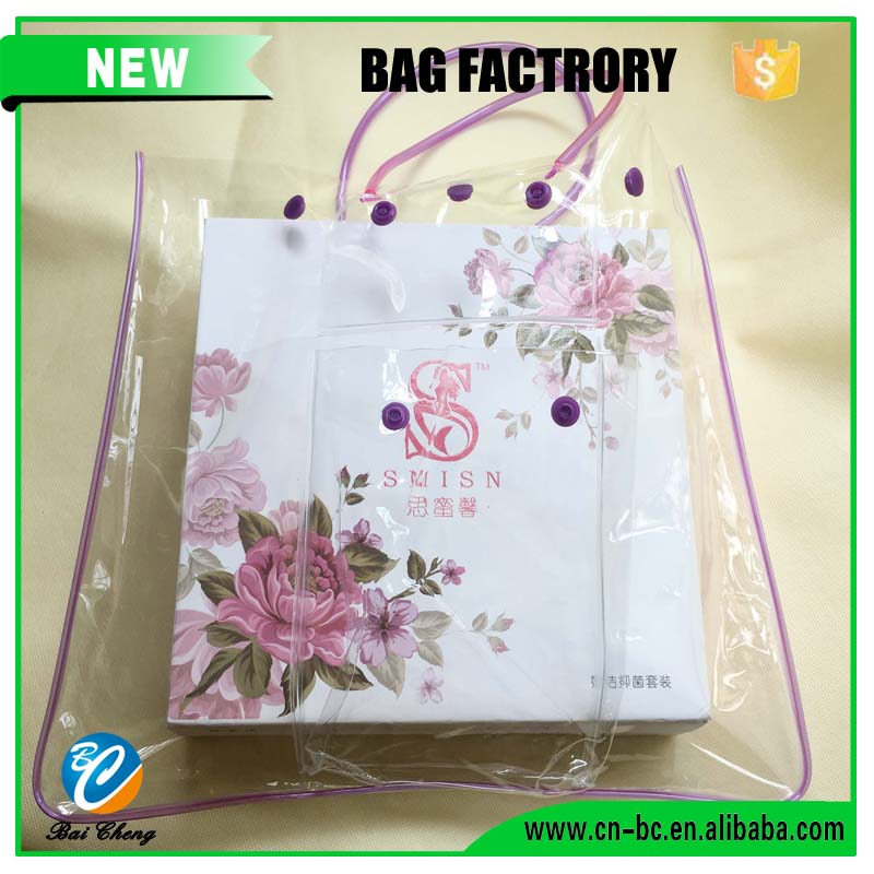 Custom Fashion Clear PVC Transparent Tote Shopping Bag for Gift