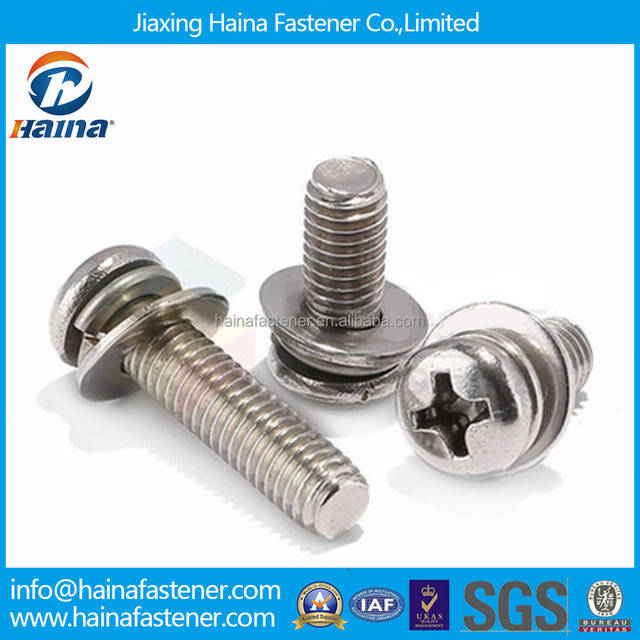 Stock stainless steel Philips pan head sems machine screw with washer