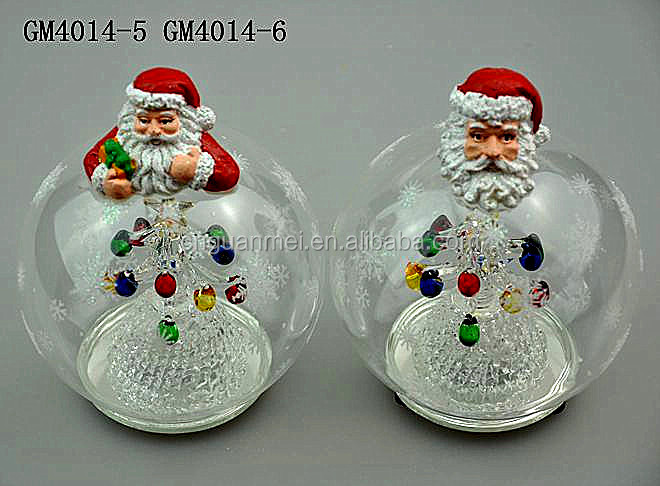 Led glass Christmas ball gift with father christmas body on above and tree inside