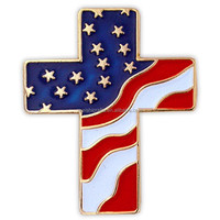 American Flag Patriotic Cross Religious Lapel Pin