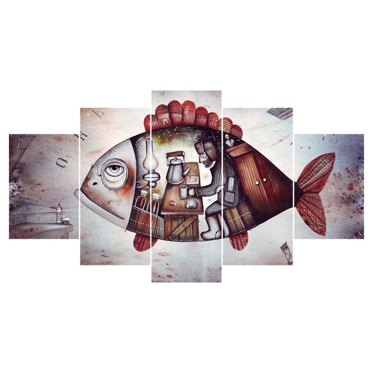 HD printing 5 panels abstract canvas art painting cartoon real fish painting wall <strong>picture</strong> for living room