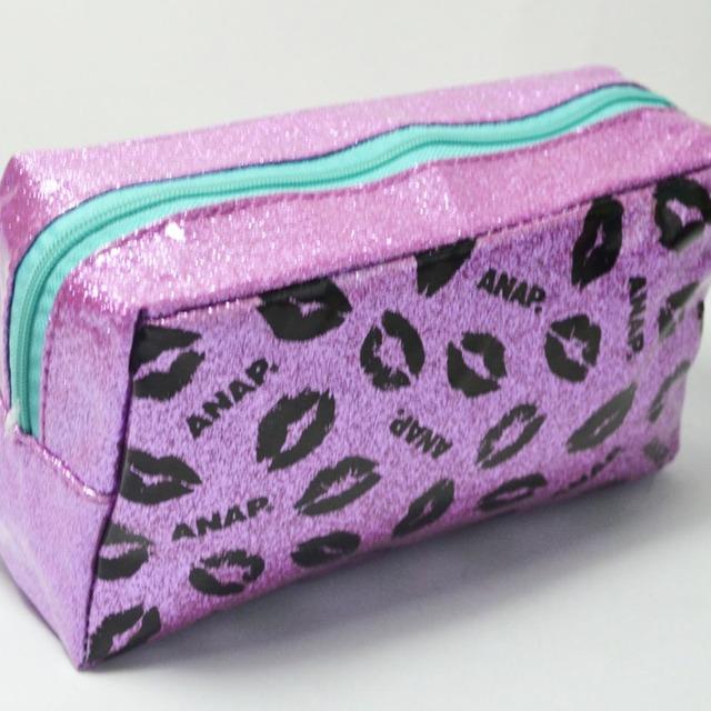 Glitter PVC Waterproof Cosmetic Bag,Pink Shiny Glitter Makeup Pouch