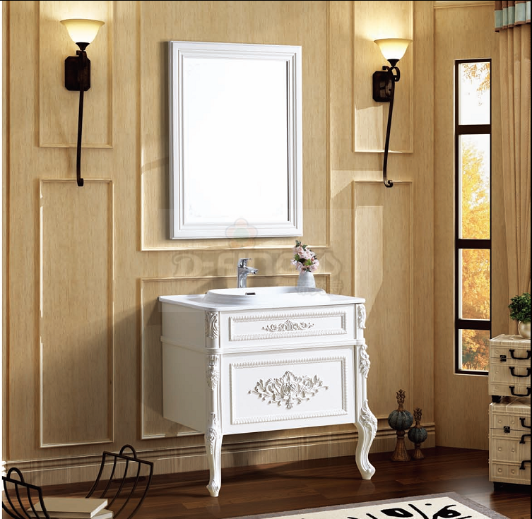 D-finess French Style Elegant White Color Bathroom furniture Unit with drawers