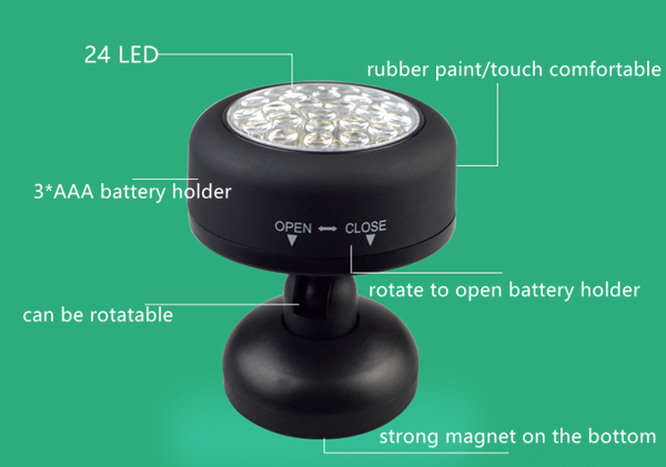24 LED Dry Battery Round Work light with Strong Magnet on Bottom Work LED Lights
