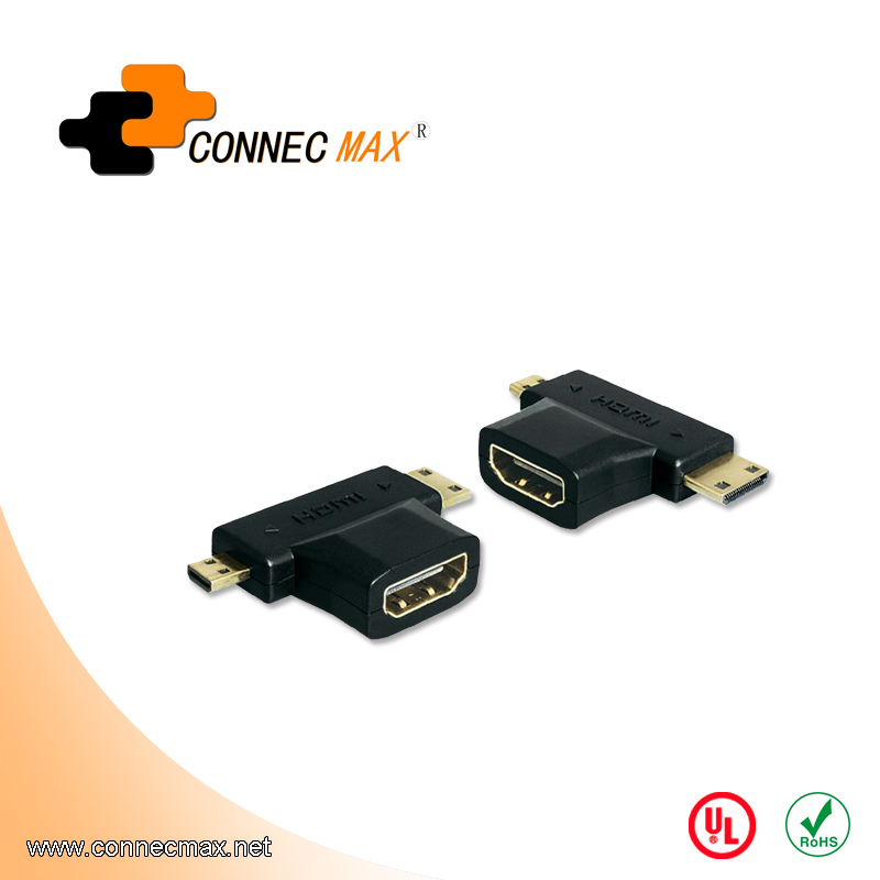 24K gold plated HDMI A female to Mini/Micro HDMI Adapter