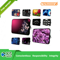 2015 new design Promotional custom made neoprene flower pattern laptop sleeve with zipper