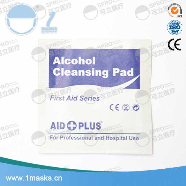 Home use hospital white non-woven fabric alcohol cleansing pad
