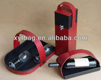 2013 OEM customize pratical faux leather wine carrier