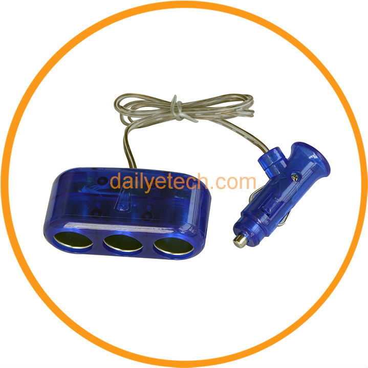 1 to 3 Car Auto Cigarette Lighter Socket DC Power Adapter Splitter Charger Blue from dailyetech