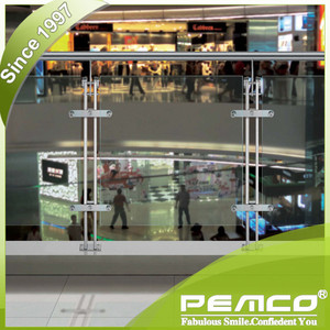 Air Port / Supermarket Use balcony glass stainless steel railing design